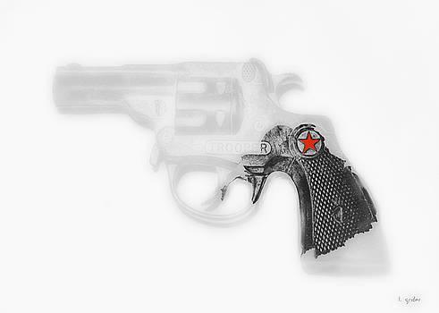 Capgun Artifact Monocrhome Print With Red Star Splash by Tony Grider