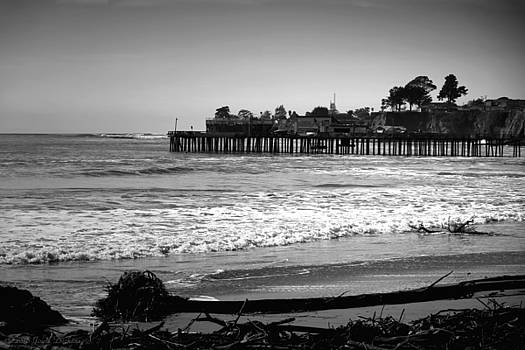 Capitola Beach And Wharf B And W by Joyce Dickens