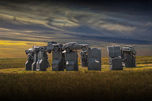 Randall Nyhof - Car Henge in Alliance Nebraska at Sunset