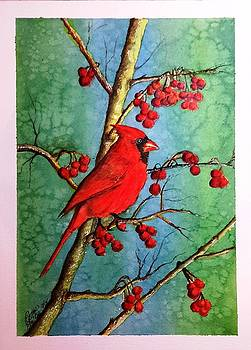 Cardinal and Berries by Richard Benson
