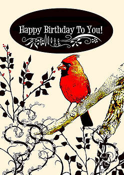 Cardinal Birthday Card by Sharon K Shubert