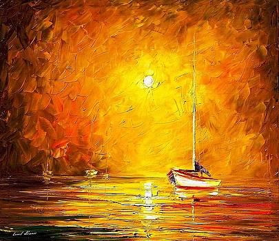 Caribbean Sea - PALETTE KNIFE Oil Painting On Canvas By Leonid Afremov by Leonid Afremov