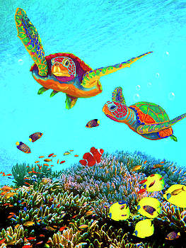 Caribbean Sea Turtles and Reef Fish vertical by Sandra Selle Rodriguez