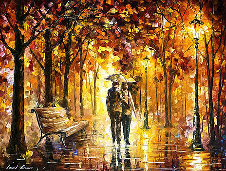Caring For Love - PALETTE KNIFE Oil Painting On Canvas By Leonid Afremov by Leonid Afremov