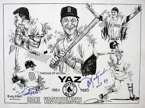 Carl Yastrzemski Retirement Tribute Newspaper Poster by Dave Olsen