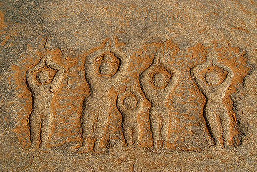 Carved Figures in the Rock Hampi by Serena Bowles