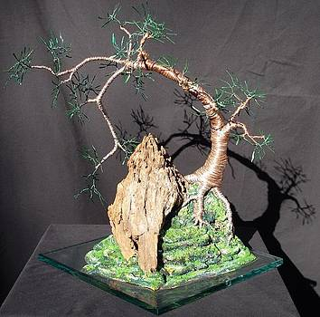 Cascade  on  Glass - Wire Tree Sculpture by Sal Villano