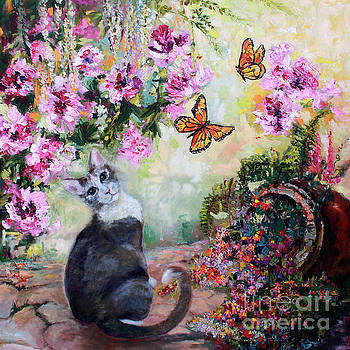 Ginette Callaway - Cat and Butterflies in Cottage Garden