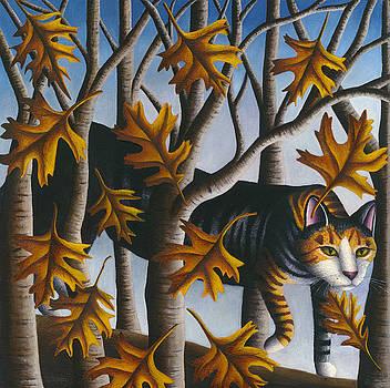 Cat in Oak Leaves by Carol Wilson