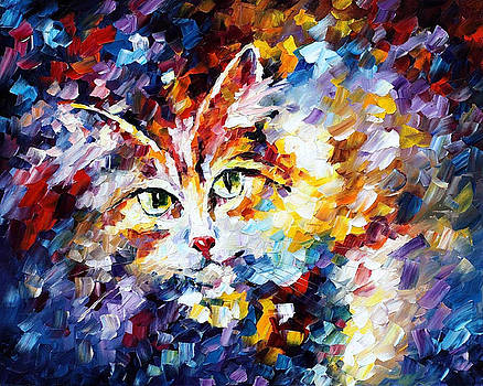 Cat - PALETTE KNIFE Oil Painting On Canvas By Leonid Afremov by Leonid Afremov