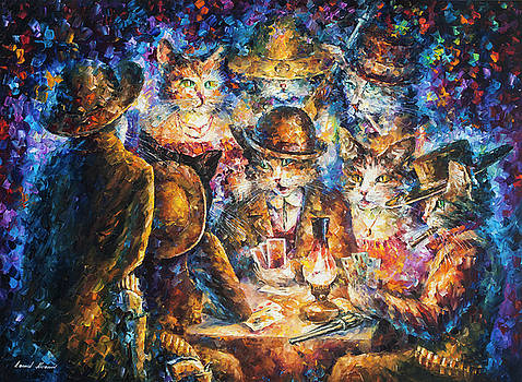 Cat Poker by Leonid Afremov