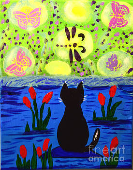 Cat Tv  Watching Bugs by Peggy  Franz