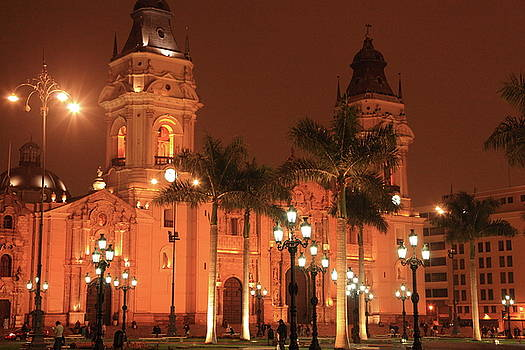 Cathedral at Night, Lima Peru by Roupen  Baker