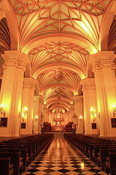 Cathedral in Lima Peru by Roupen  Baker