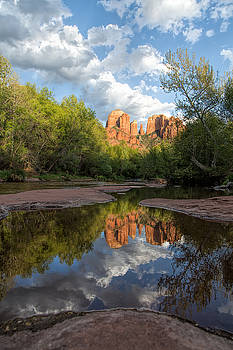 Cathedral Rocks Sunset Reflection by Larry Pollock
