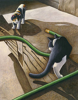 Cats and Garden Hose by Carol Wilson
