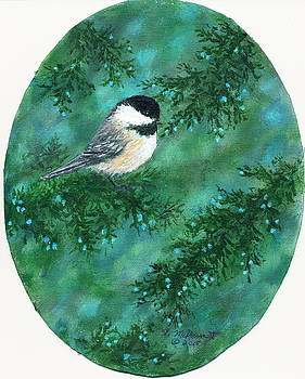 Cedar Chickadees - Bird 1 by Kathleen McDermott