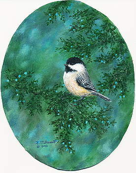 Cedar Chickadees - Bird 2 by Kathleen McDermott