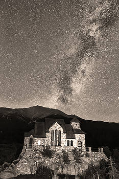 St Malo Milky Way Perseid Meteor Shower BW Sepia by James BO  Insogna