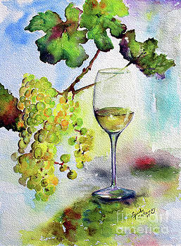Ginette Callaway - Chardonnay Wine Glass and Grapes