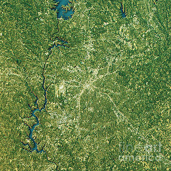 Charlotte Topographic Map Natural Color Top View by Frank Ramspott