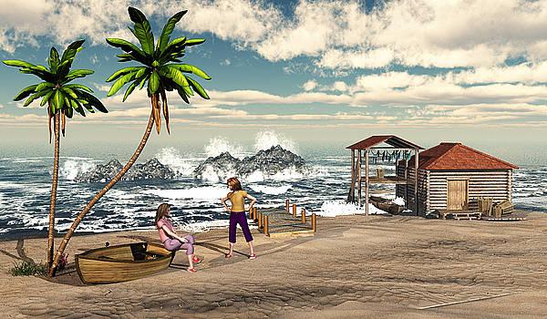 Charming Beach Scene by John Junek