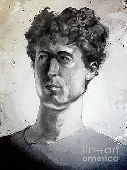 Charcoal portrait of a curly haired man in the shade by Greta Corens