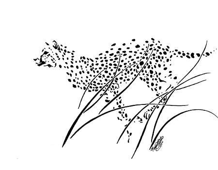Cheetah Running through Long Grass by Monica Webster