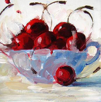 Cherries in a tea cup by Marianne  Gargour