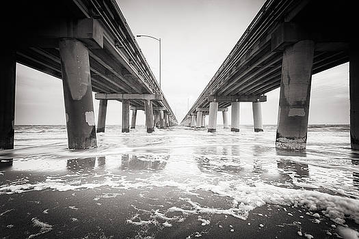 Chesapeake Bay Bridge Tunnel in Black and White by Lisa McStamp