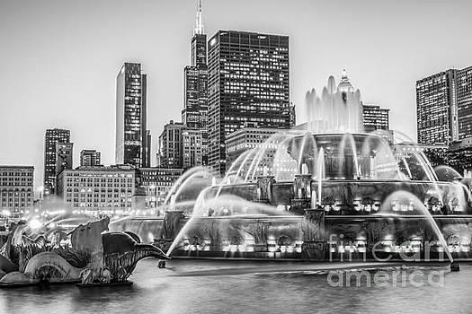Paul Velgos - Chicago Buckingham Fountain Black and White Photo