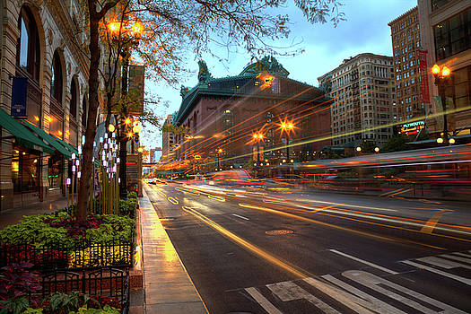Chicago Lights Hustle Bustle by Wayne Moran