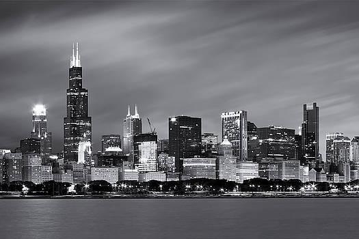 Adam Romanowicz - Chicago Skyline At Night Black And White