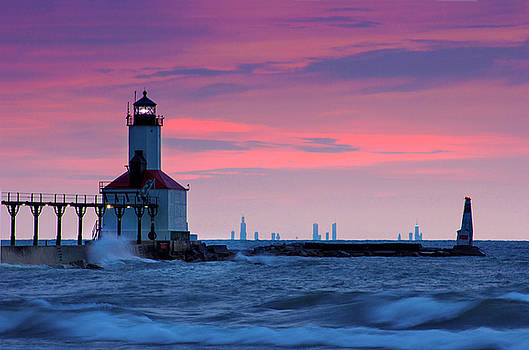 Chicago Skyline Lighthouse by Jackie Novak