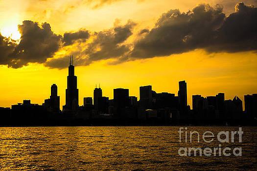 Paul Velgos - Chicago Skyline Sunset Silhouette