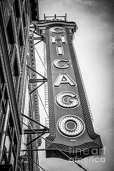 Paul Velgos - Chicago Theater Sign Black and White Picture