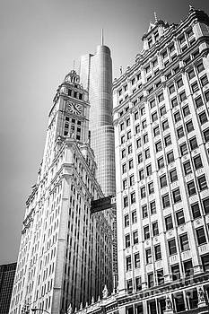 Paul Velgos - Chicago Wrigley Building and Trump Tower Black and White Photo