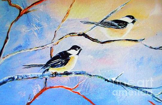 Black-Capped Chickadees Limited Edition Prints 2-20 Set Decor in Wanderlust  by Donna Dixon