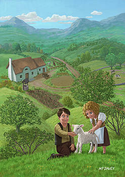 Martin Davey - children with lamb in country landscape