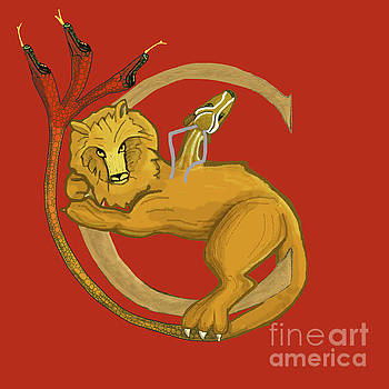 Chimera in Red Letter C by Donna Huntriss
