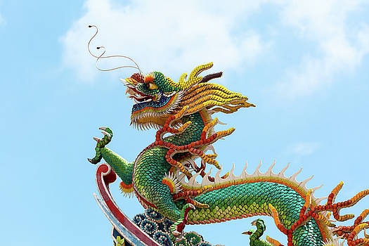 Chinese Dragon on Temple Rooftop by Jit Lim