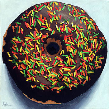 Chocolate Donut and Sprinkles large painting by Linda Apple
