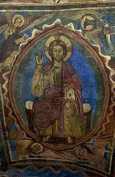 BERNARD JAUBERT - Christ Pantocrator fresco. Basilica Saint-Julien. Brioude. Haute Loire. Auvergne. France.