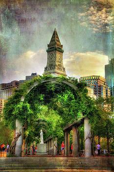 Christopher Columbus Park And The Custom House - Boston by Joann Vitali