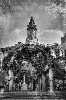 Christopher Columbus Park - Black and White - North End - Boston by Joann Vitali