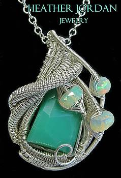 Chrysoprase Wire-Wrapped Pendant in Sterling Silver with Ethiopian Welo Opals - CSPRPSS2 by Heather Jordan