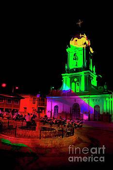 Church In Racar Ecuador At Night by Al Bourassa