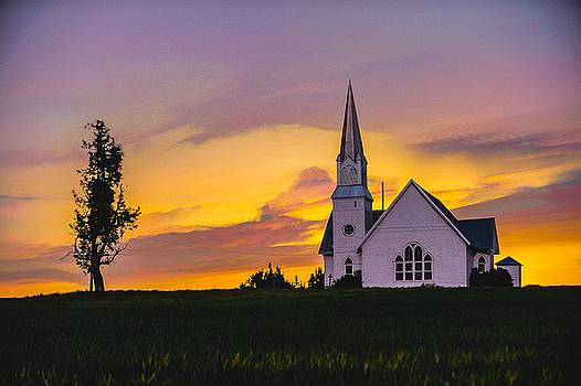 Church in wheat field by Hisao Mogi