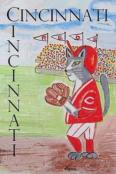 Cinci Reds Cat by Diane Pape