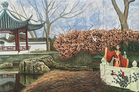 Chinese Garden In Winter by Mr Dill